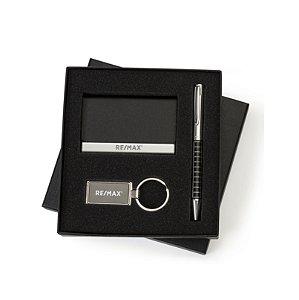 Kit executivo com porta cartão, chaveiro e caneta com estojo - 13106 PRETO