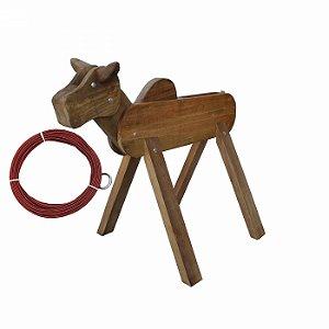 Vaca Parada De Madeira Com Laço De Corda Chumbada