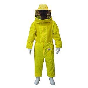Macacão Para Apicultura De Nylon Duplo Com Mascara Destacável 02-80 NDD Amarelo
