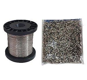 Kit Arame Inox 0,45mm Com Ilhós Niquelado 28/7 FN - Apicultura