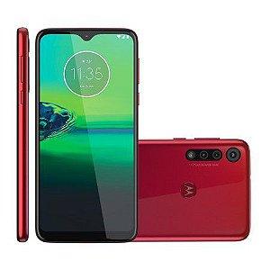 """Smartphone Moto G8 Play 32GB Dual Chip Android Tela 6.2"""" 4G Wi-Fi Câmera 13MP + 8MP + 2MP - Vermelho Magenta"""