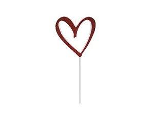 Vela coração vermelho com glitter - 01 unidade