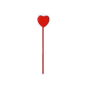 Vela coração vermelho - 04 unidades