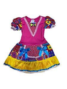 Fantasia Junina Vestido Rosa Infantil 4 anos