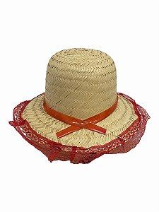 Chapéu De Palha Junino Renda Vermelha