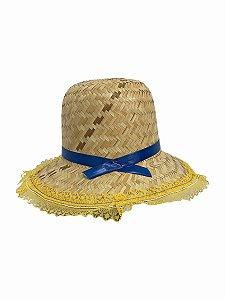 Chapéu De Palha Junino Renda Amarela