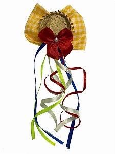 Enfeite de cabelo - Mini chapéu de palha