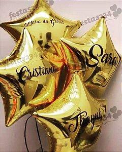 """Balão Metalizado Estrela 18"""" - com Gás hélio e 1 linha de Personalizado"""