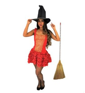 Fantasia Vestido Bruxa Dourado e Vermelho Babadinho