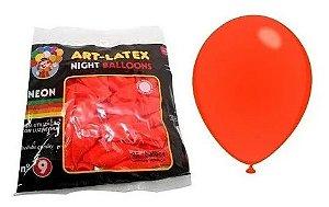 Balão Látex Neon Laranja Tamanho 8 c/ 25 unidades