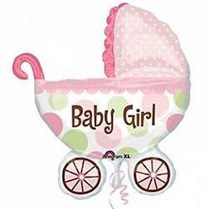 Balão Metalizado 14p - Carrinho De Bebê Rosa