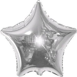 Balão Metalizado 18P - Estrela Lisa Prata