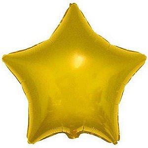 Balão Metalizado 18P - Estrela Lisa Dourada