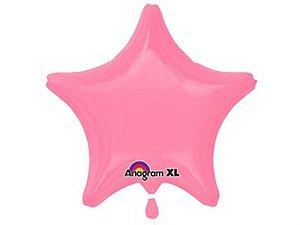 Balão Metalizado de Estrela Rosa Brilho 19P