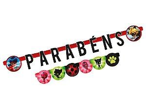 Faixa Parabéns - Ladybug c/ 1 unidade