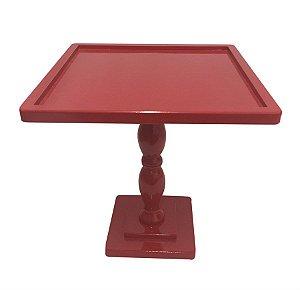 Bandeja Alta Quadrada Grande 27,5cm MDF Laqueado Vermelho