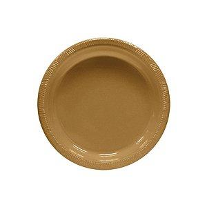 Pratos de Plástico Sobremesa Dourado c/ 10 unidades
