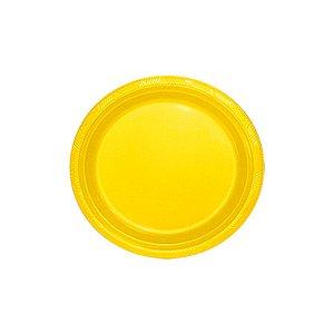 Prato de Plástico Sobremesa Amarelo c/ 10 unidades