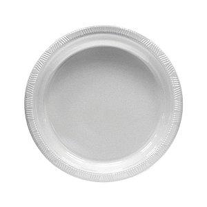 Prato de Plástico Refeição Branco c/ 10 unidades