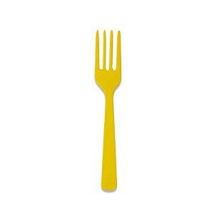Garfo de Plástico Refeição Amarelo c/ 10 unidades