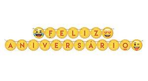 Faixa Feliz Anivérsario - Emoji c/ 1 unidade