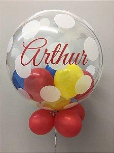 Balão Bubble Poá Decorado e Personalizado 24 Polegadas
