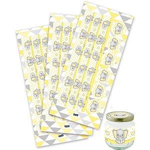 Adesivo para Lembrancinhas - Elefantinho Amarelo c/ 30 unidades