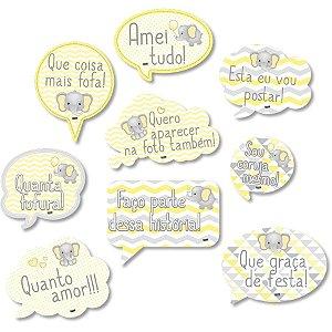 Kit Placas - Elefantinho Amarelo c/8 unidades