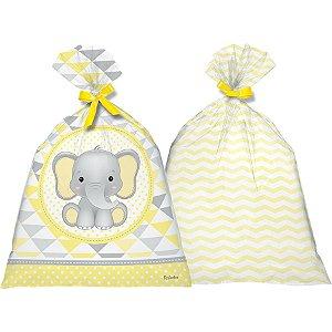 Sacola Plástica - Elefantinho Amarelo c/8 unidades