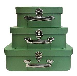 Trio De Maletas Decorativas Verde Militar