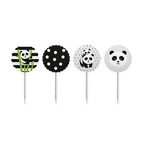 Topper para Doces e Salgados - Panda c/ 8 unidades