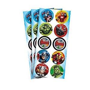 Adesivo Decorativo Redondo - Os Vingadores c/ 30 unidades