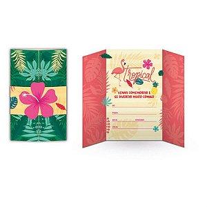 Convite - Flamingo c/ 8 unidades