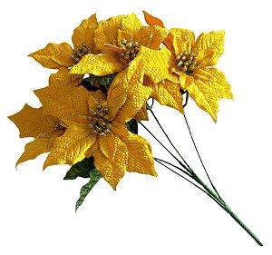 Flor para Decoração Dourada - Natal