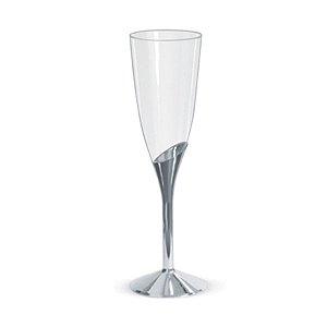 Taça De Champagne Base Prata c/ 6 unidades LUXO