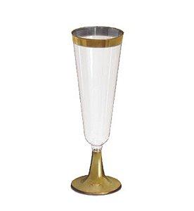 Taça de Champanhe com borda Dourado c/ 12 unidades LUXO