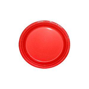 Prato de Plástico Sobremesa Vermelho c/ 10 unidades