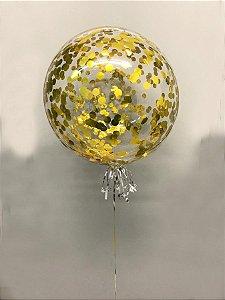 Balão Bubble de Silicone com Confetes em Dourado 24 Polegadas