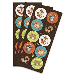 Adesivo Decorativo Redondo - Animais da Floresta c/ 30 unidades