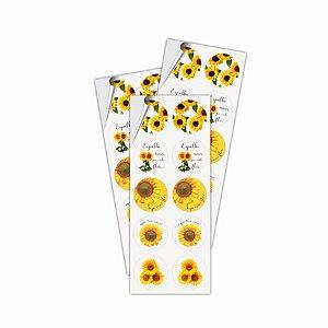Adesivo Para Lembrancinha - Girassol c/ 30 unidades