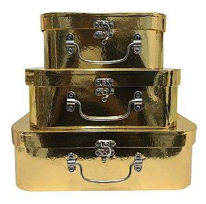 Trio De Maletas Decorativas Dourado