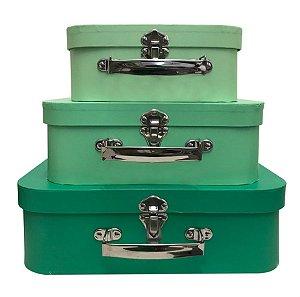 Trio de Maletas Decorativas 3 Tons de Verde