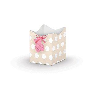 Mini Cachepot - Chá de Bebê Menina c/ 8 unidades