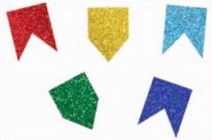 Aplique Bandeirinhas Glitter c/ 5 unidades - Festa Junina
