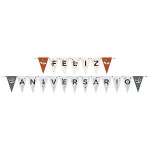 Faixa Feliz Aniversário - Animais da Floresta c/ 1 unidade