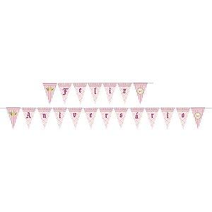 Faixa Feliz Aniversário - Realeza Menina c/ 1 unidade