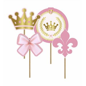 Picks Decorativo - Realeza Menina c/ 4 unidades