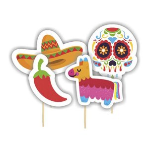 Picks Decorativo - Caveira Mexicana c/ 4 unidades