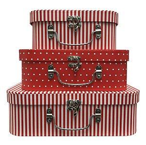 Trio De Maletas Decorativas Vermelhas Listra/Poá
