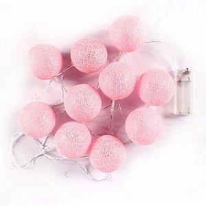Cordão De Luz Bolinha Luminária De Bola Rosa Claro